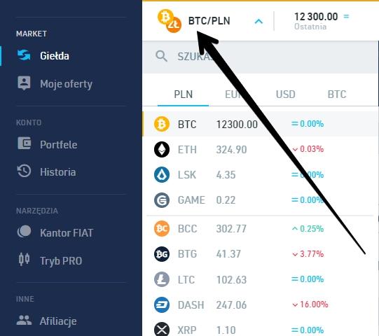 jak sprzedać bitcoin za PLN