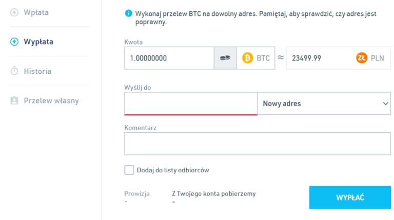sprzedaz kryptowaluty na bitbay z przelewem na rachunek bankowy krok 2