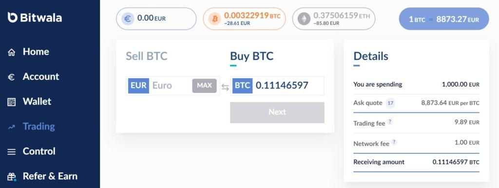 Wymiana Euro na kryptowaluty w Bitwala