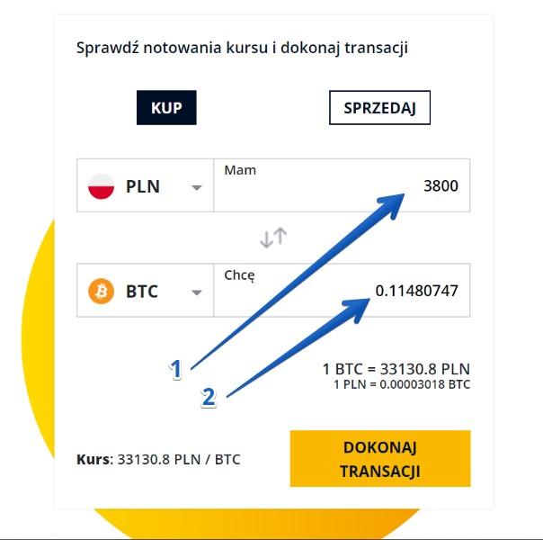 Zakup bitcoina w kantorze kryptowalut - krok 1