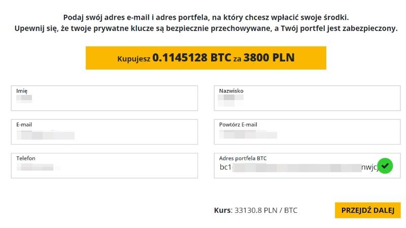 Zakup bitcoina w kantorze kryptowalut - krok 2