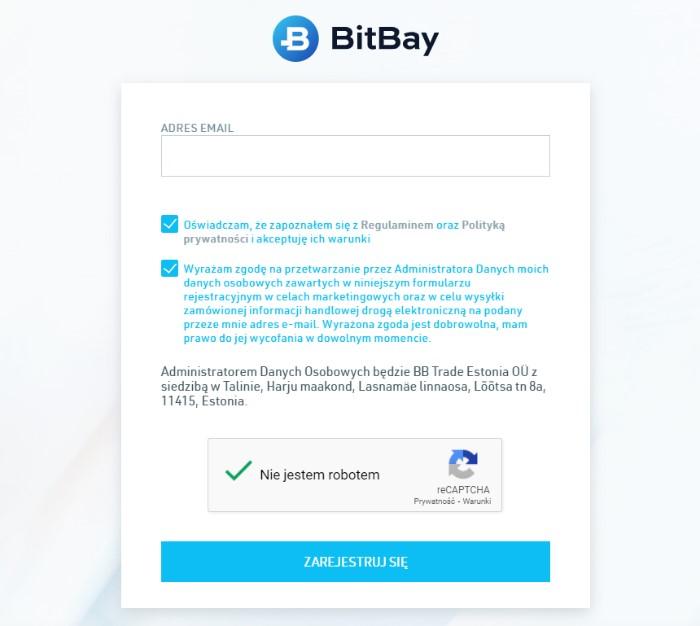 Rejestracja konta na Bitbay