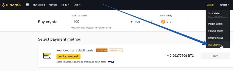Zakup kryptowalut na giełdzie Binance za pomocą karty kredytowej