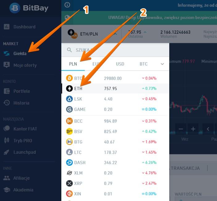 zakup ethereum na giełdzie bitbay